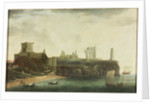 Figures and Bathing Machines in the Bay below Tynemouth Castle by Waters