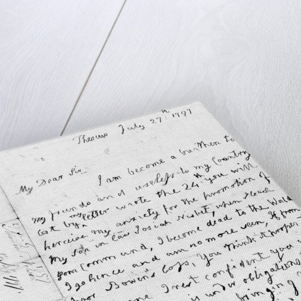 Nelson's first letter with his left hand by Horatio Nelson