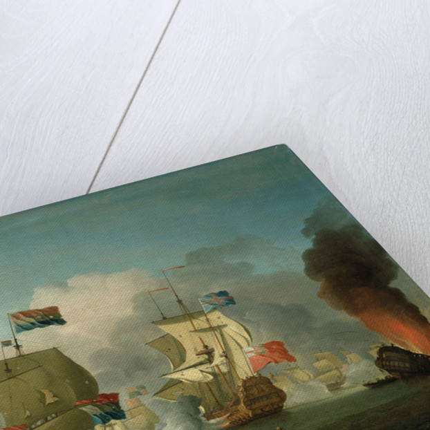 The burning of HMS 'Royal James' at the Battle of Solebay, 28 May 1672 by Peter Monamy