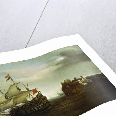 A castle with a Dutch ship sailing nearby by Hendrick Cornelisz Vroom