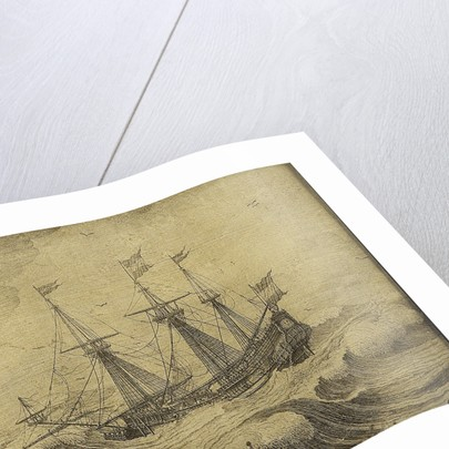 A Dutch ship in a stormy sea by Experiens Sillemans