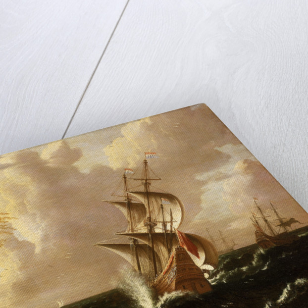A Dutch ship in a storm by Matthieu van Plattenberg