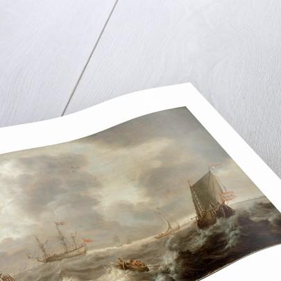 Dutch ships in a rough sea by Pieter van der Croos