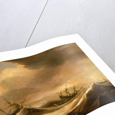 Ships in a heavy sea running before a storm by Pieter Mulier
