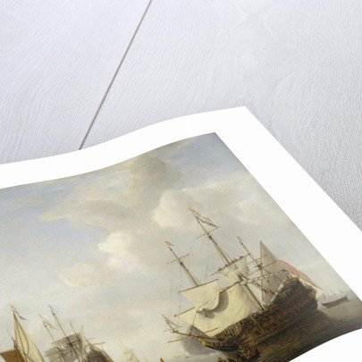 Calm: a Dutch flagship coming to anchor by Willem Van de Velde the Younger