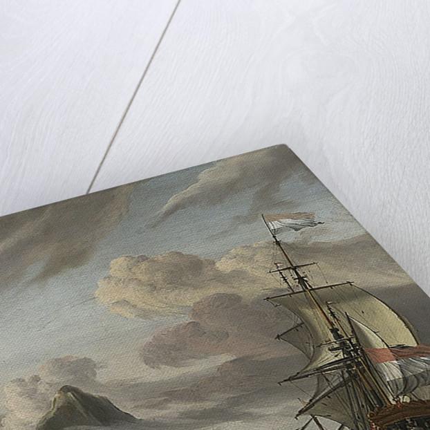 A Dutch ship entering a mediterranean port by Abraham Storck