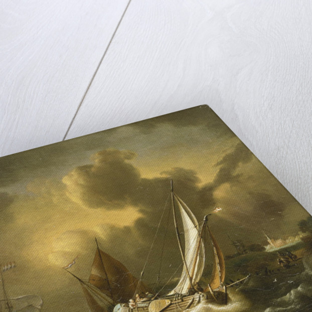 A fishing boat and other vessels in a squall by Hendrik Rietschoof