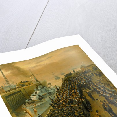 Arrival of second escort group of sloops at Liverpool by Stephen Bone