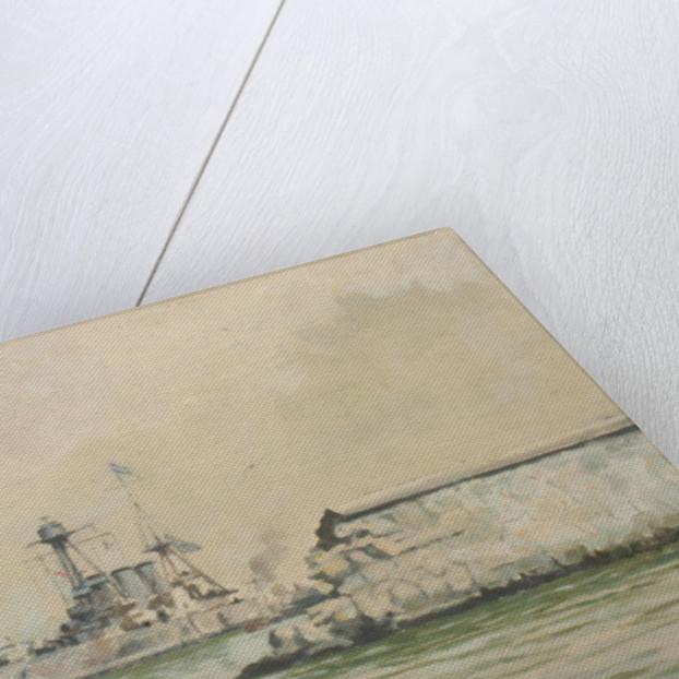 The Greek cruiser 'Averoff' at Piraeus by Rowland John Robb Langmaid