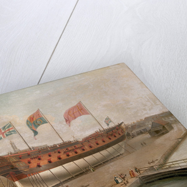 HMS 'Buckingham' on the stocks at Deptford by John Cleveley