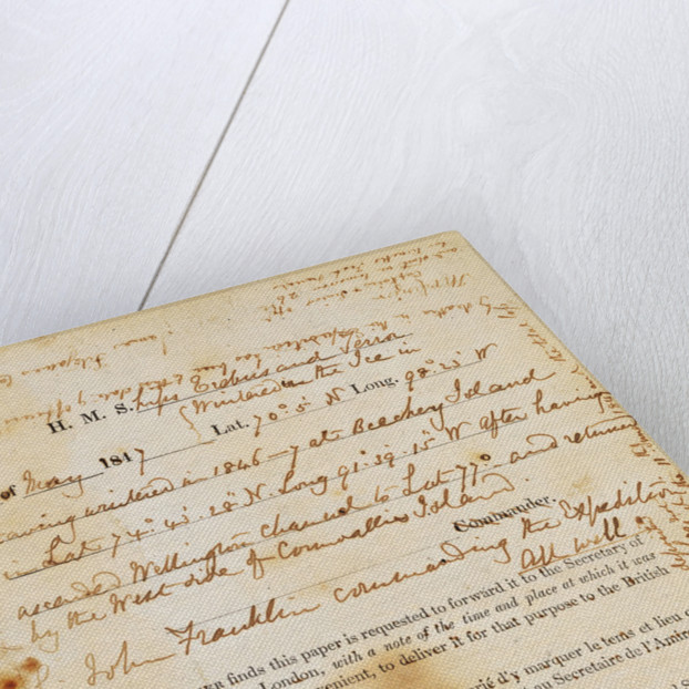 Message found by the McClintock Expedition near Point Victory, North-West Coast of King William Island, detailing the fate of the Franklin Expedition by unknown