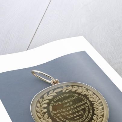 Naval Gold Medal (Flag Officer's) for The Battle of Trafalgar, 1805, reverse by Lewis Pingo