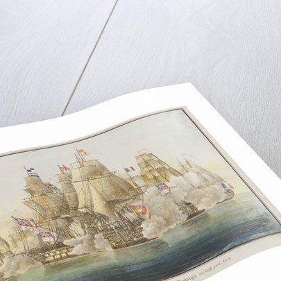 H.M.Ships 'Victory' and 'Temeraire', in the Battle of Trafalgar at half past Noon by A. Masson