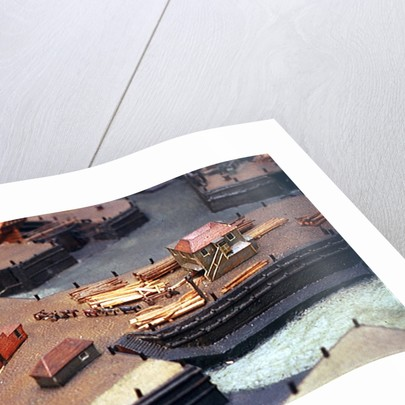 Topographic model, Royal Dockyards at Sheerness, detail showing log transportation by George Stockwell