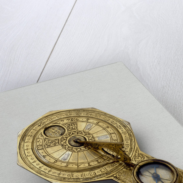 Horizontal sun and moon dial by unknown
