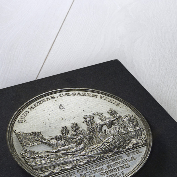 Medal commemorating the dangerous crossing of King William III and the fireworks at The Hague, 1691; obverse by D. Koene