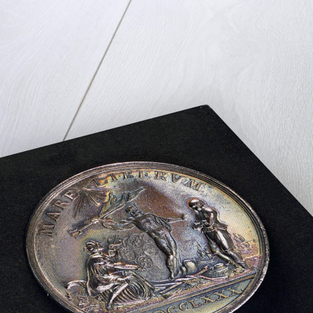 Medal commemorating armed neutrality at sea; reverse by Johann Georg Holtzhey