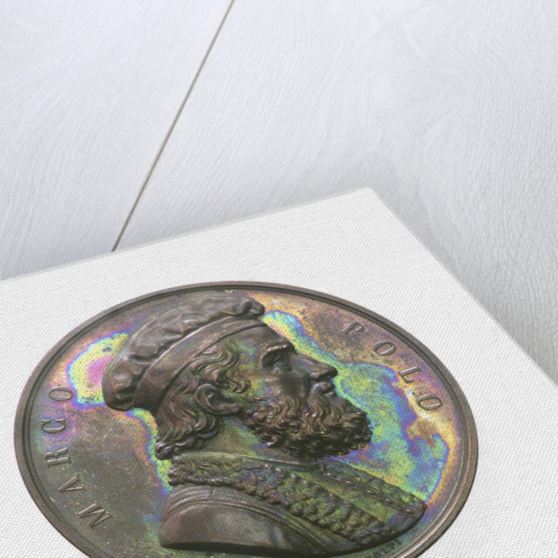 Medal commemorating Marco Polo and the 9th Conference of Italian Scientists; obverse by A. Fabris