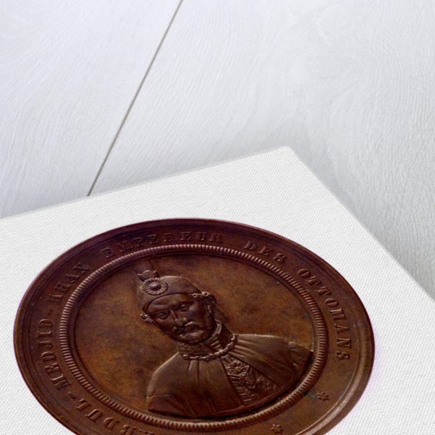 Medal commemorating the destruction of the Turkish fleet at Sinope, 1853; obverse by L.J. Hart