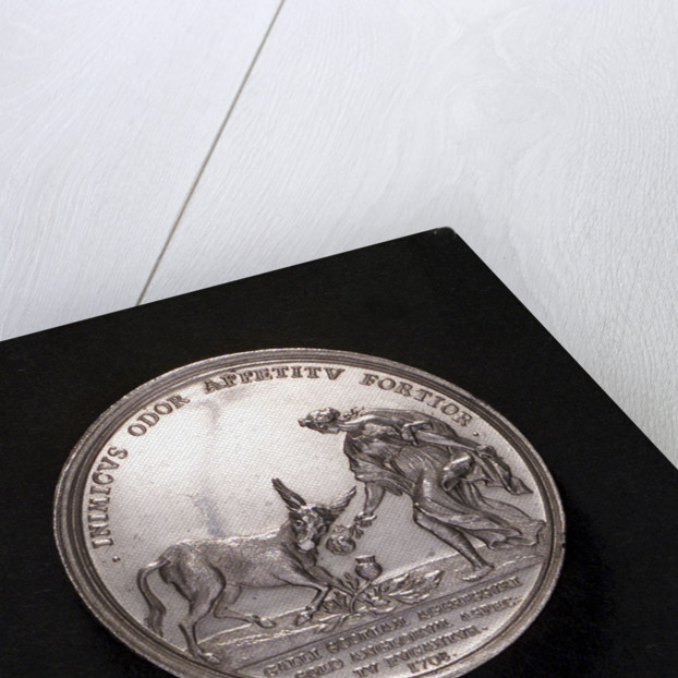 Medal commemorating the attempted invasion of Scotland, 1708; reverse by M. Brunner