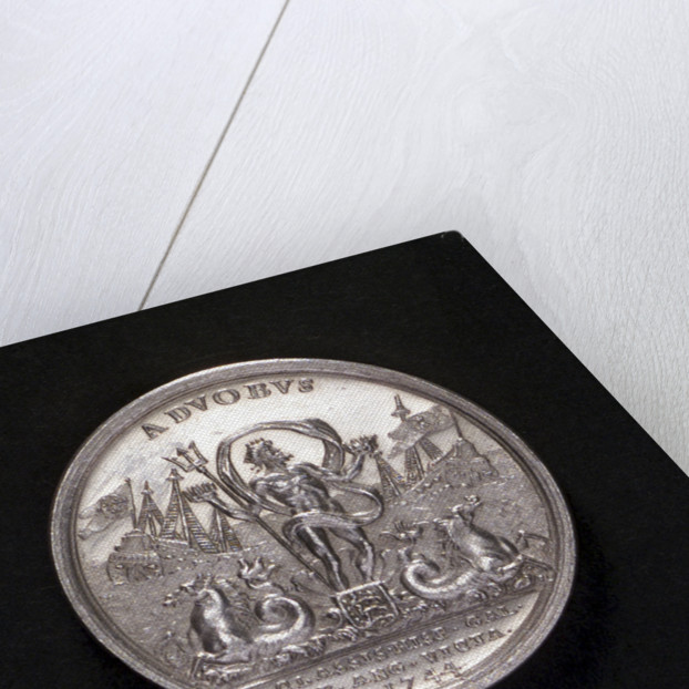 Medal commemorating the action off Toulon, 1744; reverse by A.R. Werner