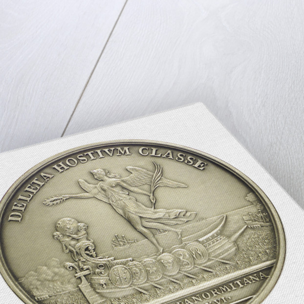 Medal commemorating the defeat of the Dutch and Spanish Fleets off Catania, 1676; reverse by H. Roussel