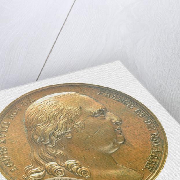 Medal commemorating Louis XVIII landing at Calais, 1814; obverse by B. Andrieu; N.G. Brenet
