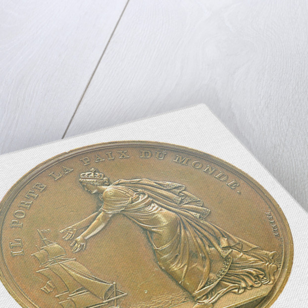 Medal commemorating Louis XVIII landing at Calais, 1814; reverse by B. Andrieu; N.G. Brenet