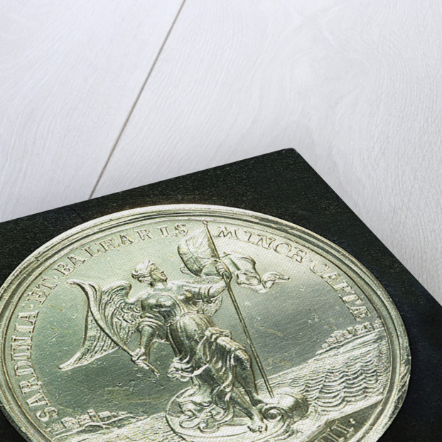 Medal commemorating the capture of Sardinia and Minorca, 1708; reverse by J. Croker