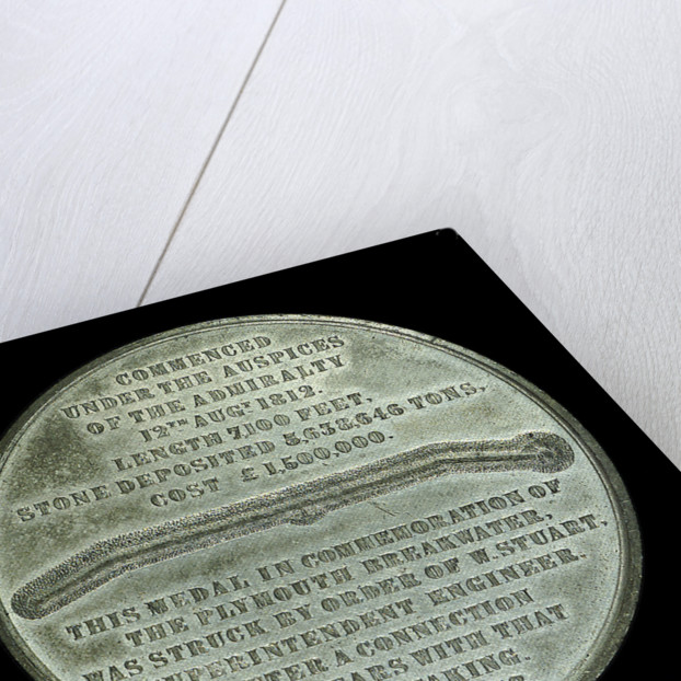 Medal commemorating the Plymouth breakwater and lighthouse; reverse by Allen & Moore