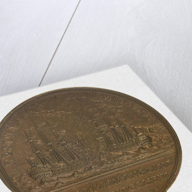 Medal commemorating the 2nd voyage of Captain James Cook, 1772; reverse by W. Barnett