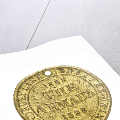 Theatre pass commemorating the tercentenary of the Spanish Armada, 1888; reverse by unknown
