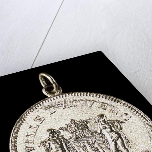 Medalet commemorating the visit of HMS 'Antrim' Captain Inglefield to Antwerp, 1906; obverse by J. Baetes