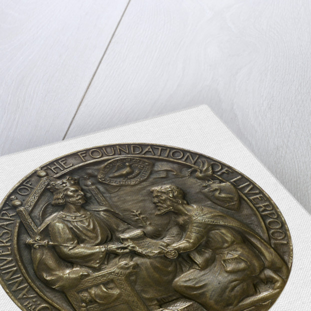 Medal commemorating the 700th anniversary of the foundation of Liverpool; obverse by C.J. Allen