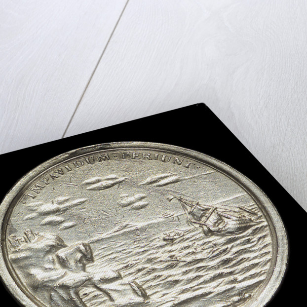 Medal commemorating The Duke of York wrecked, 1682; reverse by George Bower