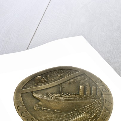 Medal commemorating the sinking of the SS 'Lusitania', 1915; reverse by R. Baudichon