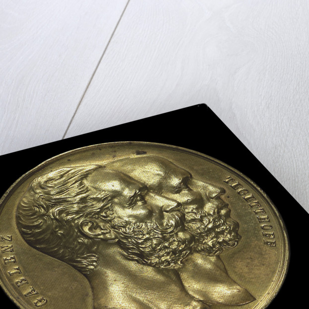 Medal commemorating Admiral von Tegetthoff and General Gablenz, 1874; obverse by Januer