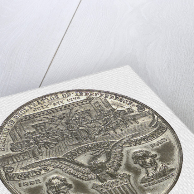 Medal commemorating Christopher Columbus (1451-1506) and the discovery of America; obverse by Boldenweck & Co.