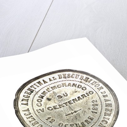 Medal commemorating the 400th anniversary of the discovery of America, 1892; reverse by Pdesta Bros