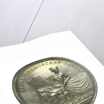Commemorative medal depicting Sir Isaac Newton (1642-1727); reverse by J. Croker