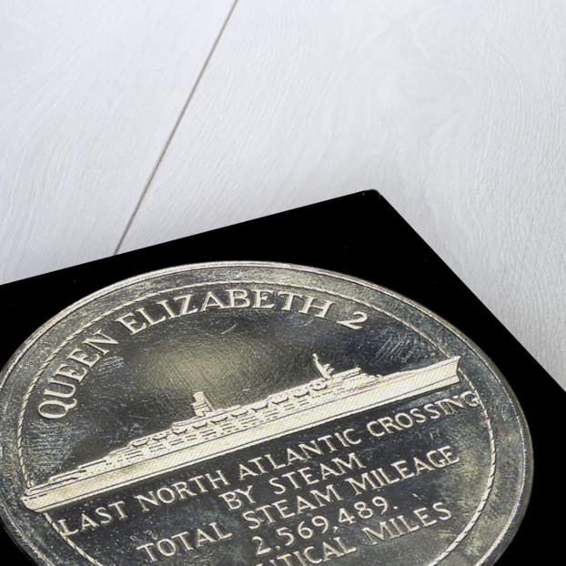 Medal commemorating the 'Queen Elizabeth 2' - Last North Atlantic Crossing by Steam; obverse by unknown