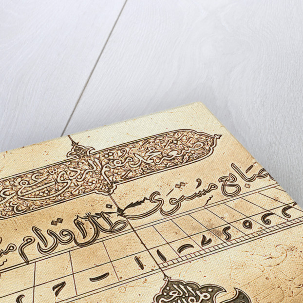 Astrolabe: detail of two cartouches by Muhammad Muqim al-Yazdi