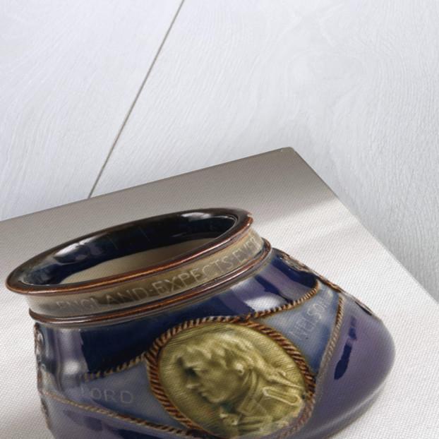 Sugar bowl commemorating the Trafalgar centenary by Doulton & Co. Ltd.