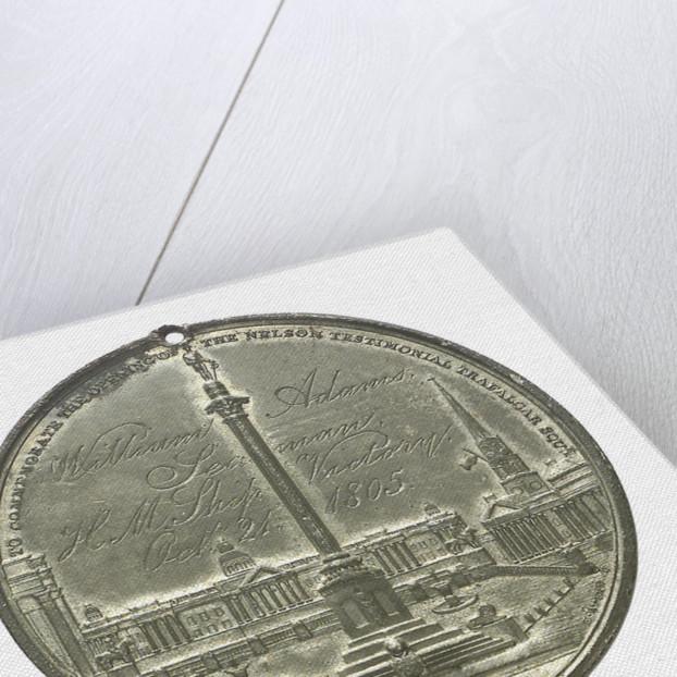 Commemorative medal depicting the Trafalgar Square Monument; reverse by E. Avern
