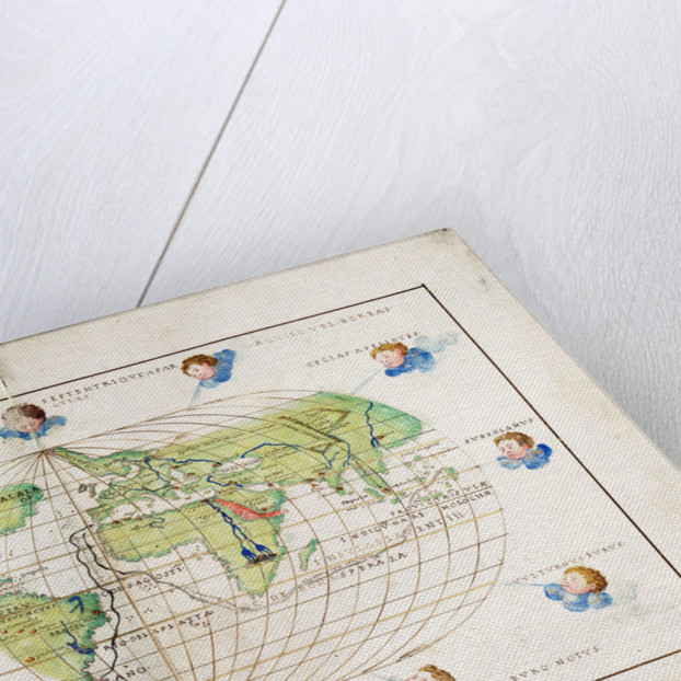 Oval planisphere of the world showing Magellan's track, 1554 by Battista Agnese