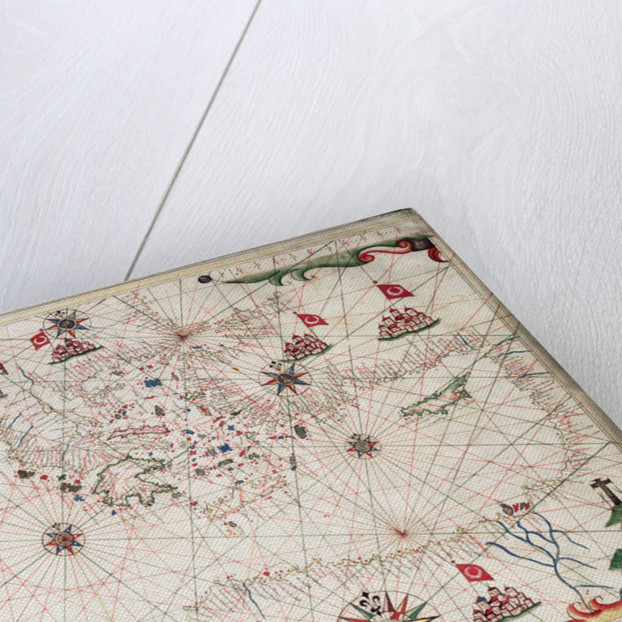 Chart of the Mediterranean circa 1640 by Joan Oliva