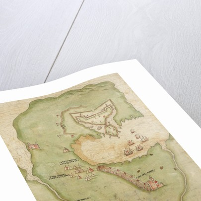 Map of Smerwick, Ireland, showing the English earthwork with two guns for attacking the Spanish fort and English soldiers marching out of Castell More by unknown
