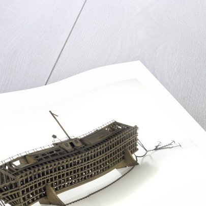 Design model, refuge asylum, with mooring chains by unknown