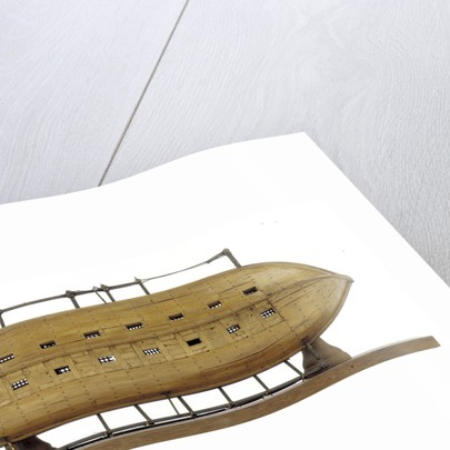 Full hull model, 16-oar outrigger lifeboat, underside by unknown