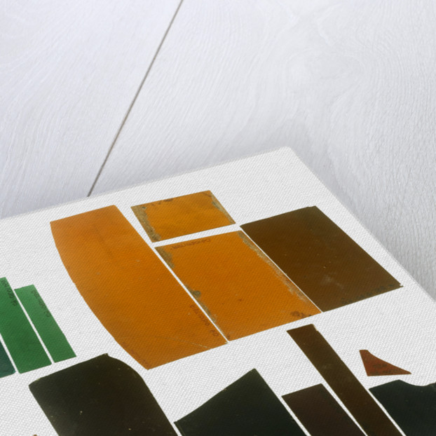 Eighteen pieces of coloured glass (five amber, three crimson, four dark green, six purple) in a bag by unknown